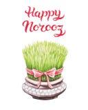 Greeting Card template Happy Norooz Persian New Year. Hand Drawn Greeting Card template with title Happy Norooz - the traditional Persian New Year Holiday Stock Photo