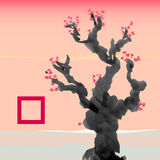 Greeting card template in Japanese style. Blossoming tree Royalty Free Stock Photography