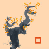 Greeting card template in Japanese style. Blossoming tree Stock Image