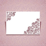 Greeting card template with lace corners Stock Image