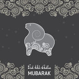 Greeting card template for Muslim Community Festival  of sacrifice Eid-Ul-Adha. With flat sheep Royalty Free Stock Photos