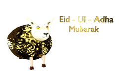 Greeting card template for Muslim Community Festival of sacrifice Eid-Ul-Adha with sheep. 3D rendered Illustration.  Stock Photography