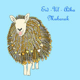 Greeting card template for Muslim Community Festival of sacrifice Eid-Ul-Adha with sheep. Vector Illustration.  Royalty Free Stock Photo