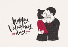 Greeting card template with pair of hugging and kissing hipster boy and girl or passionate lovers and Happy Valentine s. Day wish pierced by arrow on light Stock Photo