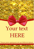 Greeting card template with realistic red bow and gold glitters Stock Images