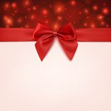 Greeting card template with red bow and a ribbon Royalty Free Stock Photos