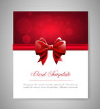 Greeting card template with red bow and ribbon. Invitation. Vector illustration Stock Photo