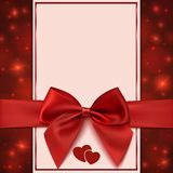 Greeting card template with red bow, ribbon and Stock Image