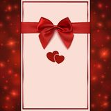 Greeting card template with red bow, ribbon and Royalty Free Stock Photography