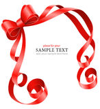 Greeting card template with red ribbon and bow. Illustration isolated on white background Stock Photo