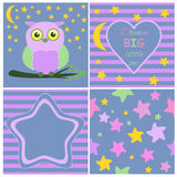 Greeting card template set including Cartoon baby owl on branch card, Heart, Moon, stars and stripes background Stock Photos