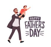 Greeting card template with smiling man carrying young boy or dad holding son. Cute cartoon characters and Happy Father. `s Day lettering on white background Royalty Free Stock Images