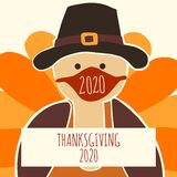 Greeting card template Thanksgiving 2020. Fully editable vector illustration. Turkey wearing a face mask. Stay home