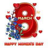 Greeting card template to 8 March Women`s Day. Womens Day card. Vector illustration isolated on white background stock illustration