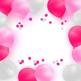 Greeting card template for wedding, birthday, Mothers Day. White and pink balloons on white background with rose petals. Greeting card template for wedding Royalty Free Stock Image