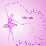 Greeting card with tender ballerina holding a Royalty Free Stock Photos