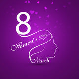 Greeting card with text 8th March Happy Women's Day background c. Ard stock illustration