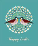 Greeting Card with Text Happy Easter. Mandala with Willow Branches, Green Leaves, Bees and Birds. Vector Illustration: Greeting Card with Text Happy Easter vector illustration