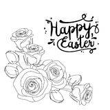 Greeting card with text Happy Easter and roses, colouring page for adults, illustration Stock Photos