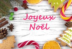 Greeting card with text Merry Christmas in French.  stock photography