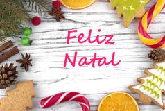 Greeting card with text Merry Christmas in Portugal.  stock photo