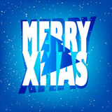 Greeting card with text  Merry Xmas, tree and snow on blue background.  Royalty Free Stock Photos