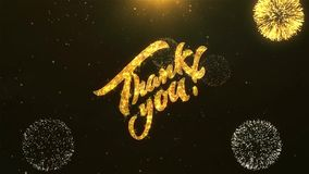 Thank You Celebration, Wishes, Greeting Text on Golden Firework