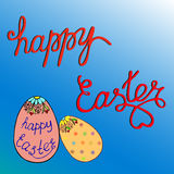 Greeting card text templates with Easter eggs. Happy easter. Stock Image