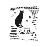 Greeting card with text ` World Cat Day`. Icon of bombay breed. stock illustration