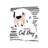 Greeting card with text ` World Cat Day`. Icon of metis breed. vector illustration