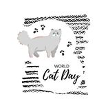 Greeting card with text ` World Cat Day`. Icon of persian breed. vector illustration