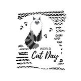 Greeting card with text ` World Cat Day`. Icon of maine сoon breed. stock illustration