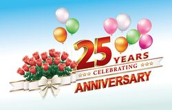 25 years anniversary with a bouquet of roses and balloons. Greeting card with the 25th anniversary with a bouquet of roses and balloons decorated with ribbon Stock Image