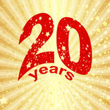 Greeting card with the 20th anniversary. On gold (vector eps 10 Royalty Free Stock Images