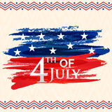 Greeting Card for 4th of July celebration. Greeting card design with stylish text 4th of July on American Flag colors abstract design for Independence Day Royalty Free Stock Photo