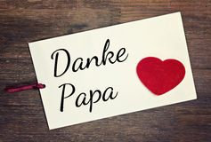Greeting card thank you dad. Greeting card german for thank you dad Royalty Free Stock Photo