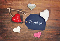 Greeting card thank you. Greeting card with hearts for thank you Royalty Free Stock Photo