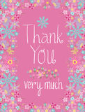 Greeting card with Thank you lettering and flowers Stock Photography