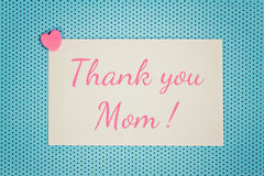 Greeting Card Thank You Mom Stock Photography