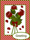 Greeting card three red roses Stock Photo
