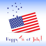 Greeting card to the American Independence Day. With flag and stars Stock Photography