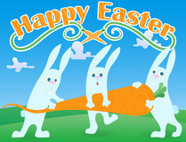 Greeting card to the day of Easter, the three funny cartoon Easter Bunny carrying carrot on lawn and blue sky background and the w Royalty Free Stock Photography