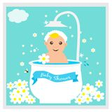 Greeting card to newborn baby. Vector illustration. Stock Photography