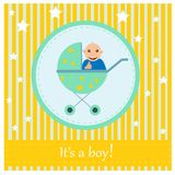 Greeting card to newborn baby. It s a boy Royalty Free Stock Image