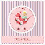 Baby Carriage. Greeting card to newborn baby. It s a girl. Royalty Free Stock Photos