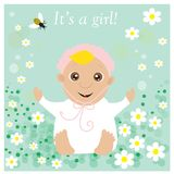 Baby Carriage. Greeting card to newborn baby. It s a girl. Stock Photo