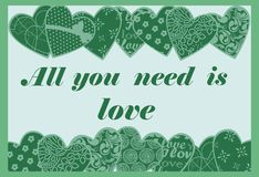 Greeting Card to St. Valentine`s Day with hearts. Vector. Postcard with green hearts, patterns and lettering. Valentine`s Day Stock Photos