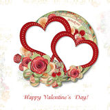 Greeting Card to Valentine's Day with roses&hearts Stock Photography