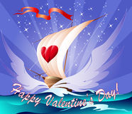 Greeting card with a toy boat. The toy ship with heart on a sail floats towards to love stock illustration