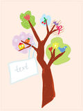 Greeting card with tree and banner for child Stock Photo